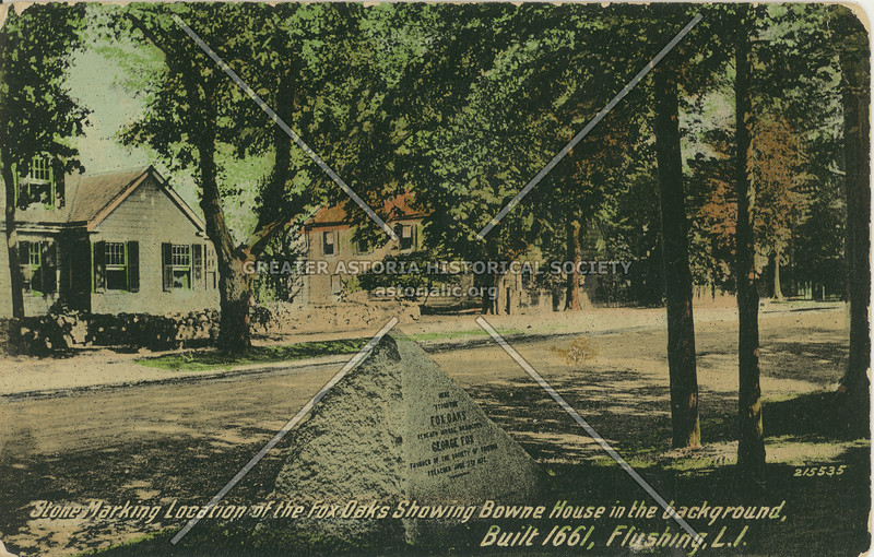 Stone Marking Location of the Fox Oaks Showing Bowne House in the background, Bowne St., Flushing, L.I.