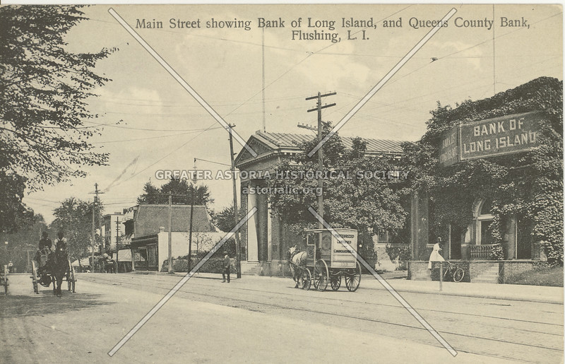 Main Street showing Bank of Long Island, and Queens County Bank, Flushing, L.I.