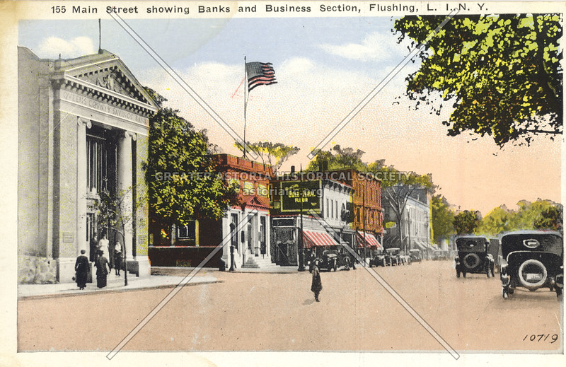Main Street showing Banks and Business Section, Flushing, L.I., N.Y.