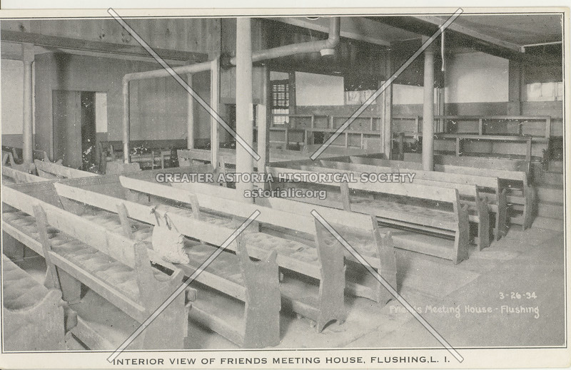 Interior View of Friends Meeting House, Northern Blvd.,  Flushing, L.I.