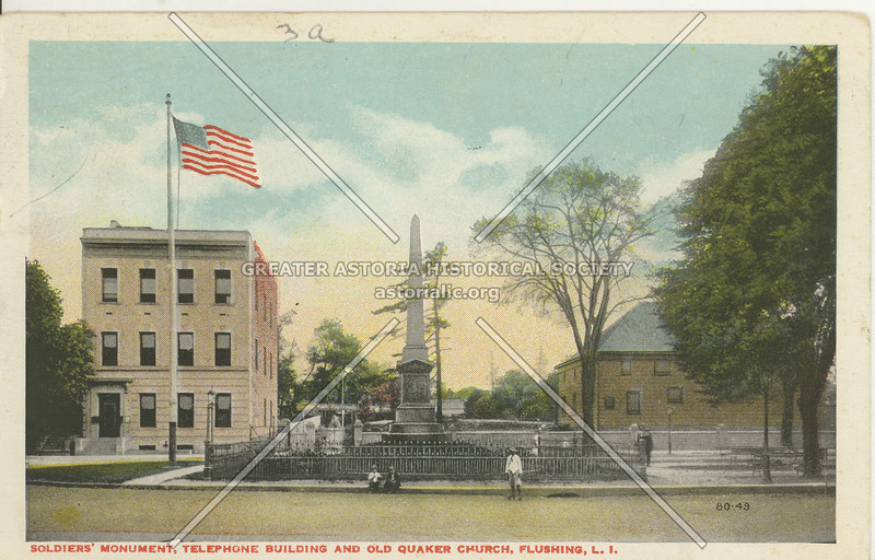 Soldiers Monument, Telephone Building, and Old Quaker Church, Northern Blvd. and Linden Place, Flushing, L.I.