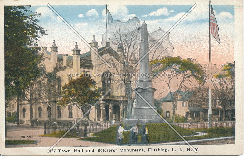 Town Hall and Soldier's Monument, Northern Blvd and Linden Place, Flushing, L.I., N.Y.
