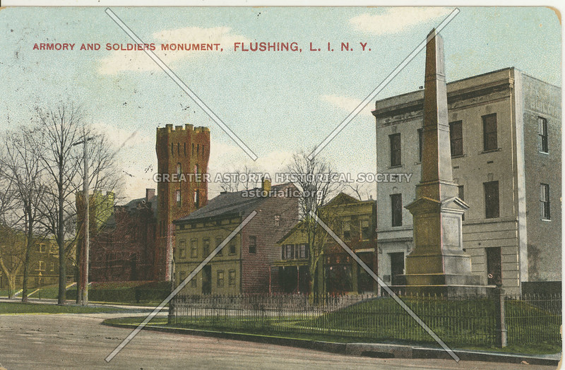 Armory and Soldiers Monument, Northern Blvd and Linden Place, Flushing, L.I., N.Y.