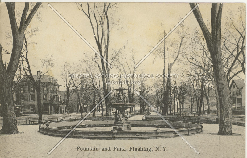 Fountain and Park, Main St. and Northern Blvd., Flushing, N.Y.