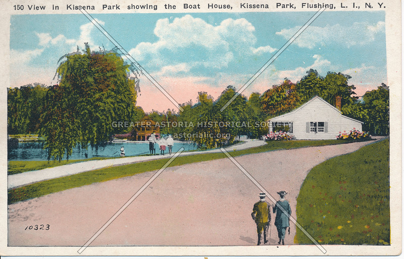 View in Kissena Park showing the Boat House, Kissena Park, Flushing, L.I., N.Y.