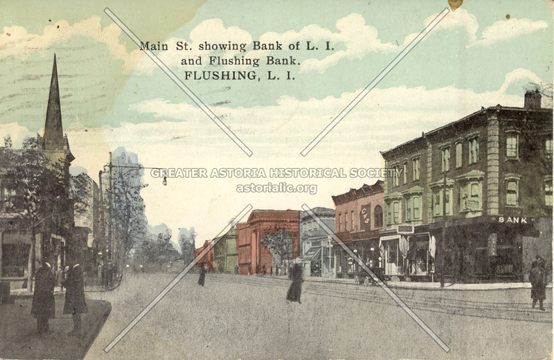 Main St. showing Bank of L.I. and Flushing Bank. Flushing, L.I.