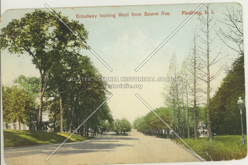 Broadway (Northern Blvd) Looking West from Bowne Ave., Flushing, L.I.
