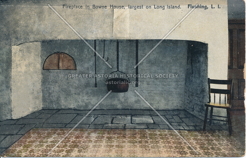 Fireplace in Bowne House, largest on Long Island, Flushing, L.I.