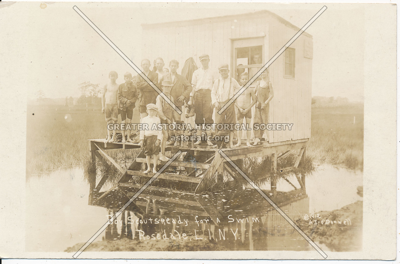 Boy Scouts ready for a swim, Rosedale, L.I., N.Y.