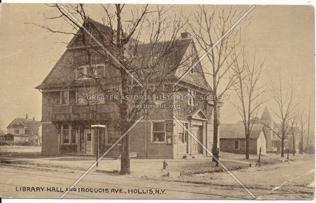 Library Hall and Iroquois Ave (195 St)., Hollis, N.Y.