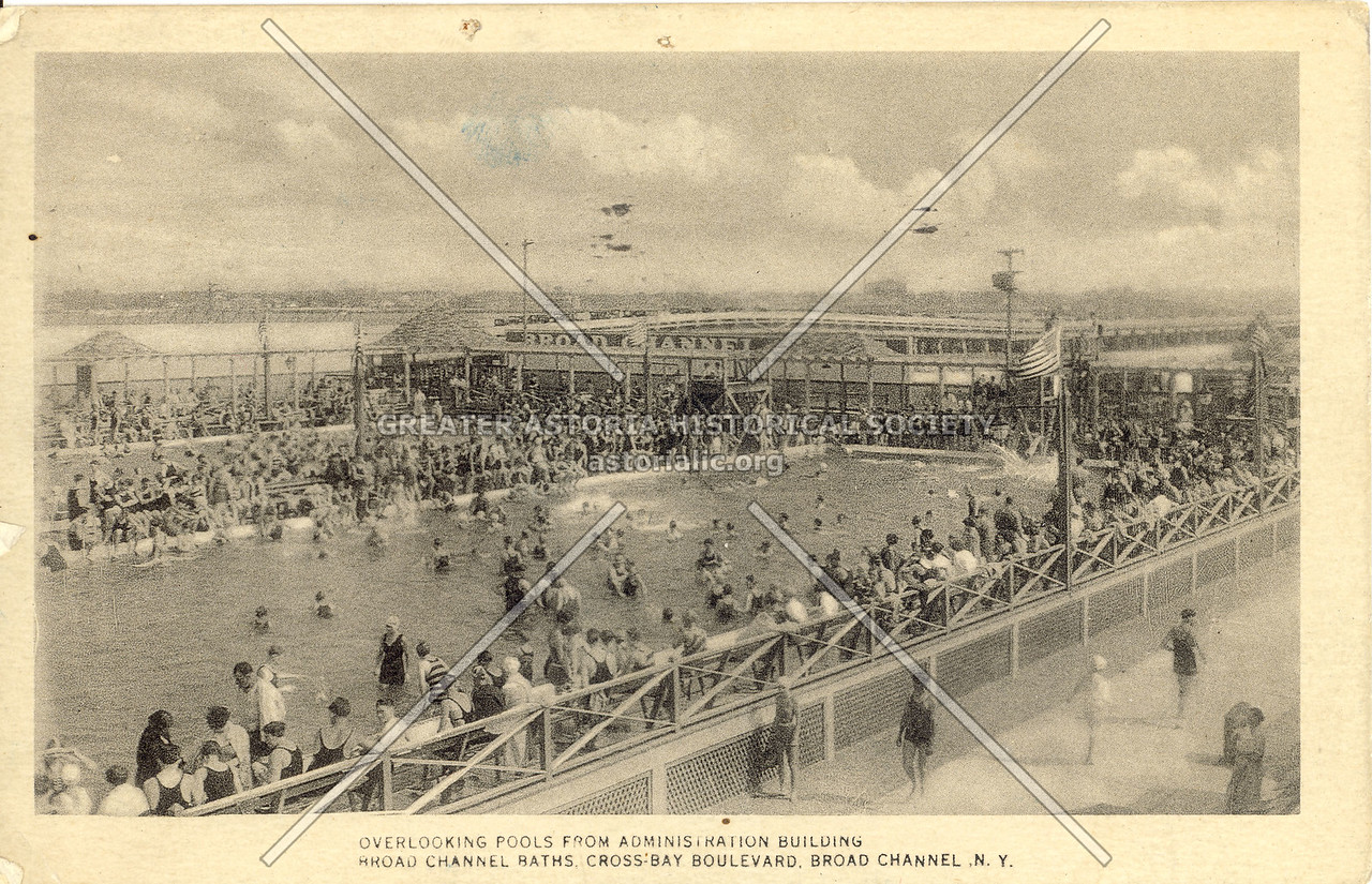 Overlooking Pools from Administration Building Broad Channel Baths Cross-Bay Boulevard, Broad Channel, N.Y.
