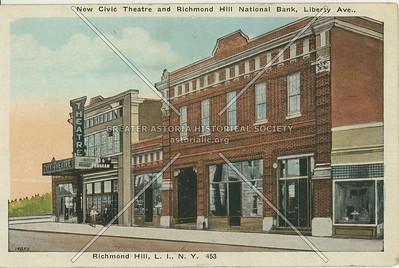 New Civic Theatre and Richmond Hill National Bank, Liberty Ave., Richmond Hill, LI, NY