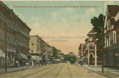 Business Section, Jamaica Ave., showing Hillside Bank, Richmond Hill, LI, NY