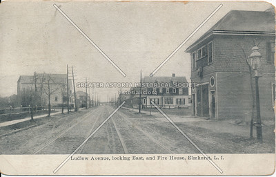 Ludlow Avenue, looking East, and Fire house, Elmhurst L.I.
