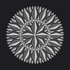 Metallic Silver Flower Heart Grey Background