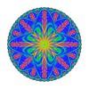814. Blue Red Motif With Atomic Symbol