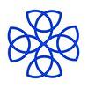 14. Celtic blue Strand Cross White Background