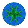 803. Blue Green Intersecting Arcs Motif