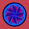Red And Blue Pizza Wheel Abstract