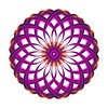 Purple Orange Circular Flower Motif Bead Centre