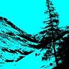 7. Silhouette Blue Alpine Mountain