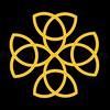 16. Celtic Yellow Strand Cross Black Background