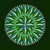 Metallic Flower Heart Green Background