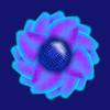 802. Pastel Flower Dark Blue Heart With Reflection