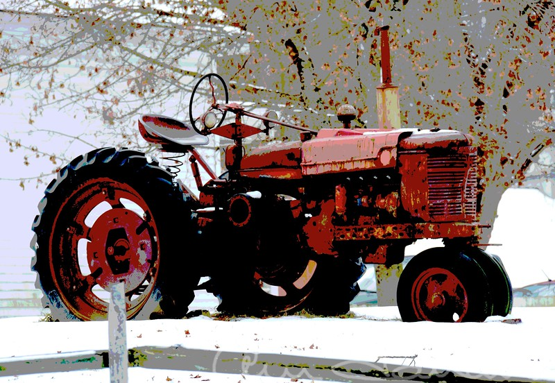 Tractor in Snow Poster