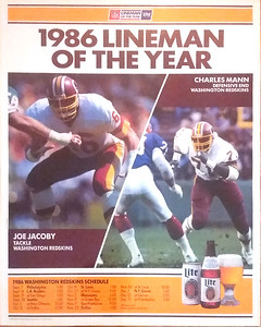 1986 Miller Lite Lineman of the Year Redskins Poster