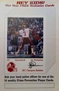 1984 Redskins Police Cards Joe Theismann Poster