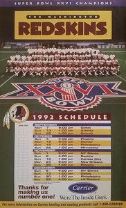 1992 Carrier Redskins Team Photo and Schedule Poster