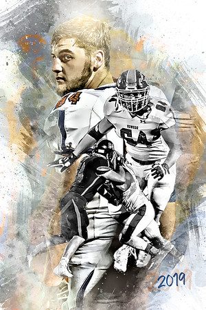 2019 Brett Suter Football Epic Grunge Color Print
