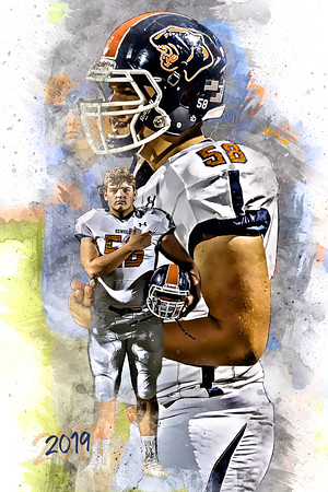 2019 Brice Suter Football Epic Grunge Color Print 16x24