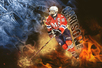 Carlson Hockey Vector over Burning Man Ice Fire Overlay Name and Year 2