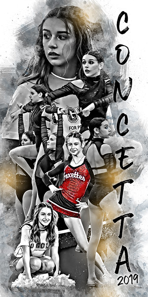 2019 24x48 Concetta Poster Red Cheer BW Epic Grunge