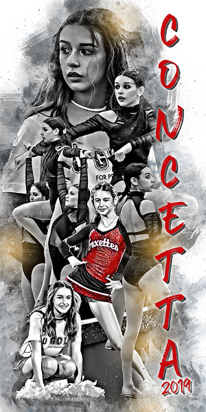 2019 24x48 Concetta Poster Red Cheer  and Name BW Epic Grunge
