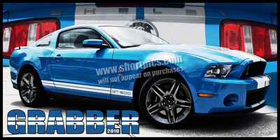12x24 2010 Grabber Blue Mustang Cobra Print