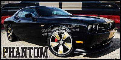12x24 2013 Phantom Black w Gold Stripes Challenger SRT8 Print