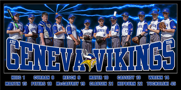 2016 13U Curran Geneva Vikings Team Poster