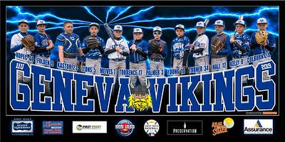 2019 11U Kastor Geneva Vikings Team Banner Full Team Only Lightning