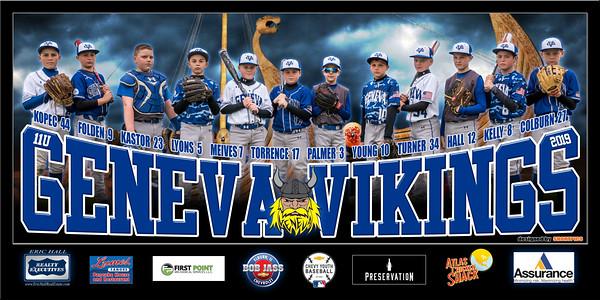 2019 11U Kastor Geneva Vikings Team Banner Full Team wo Lightning