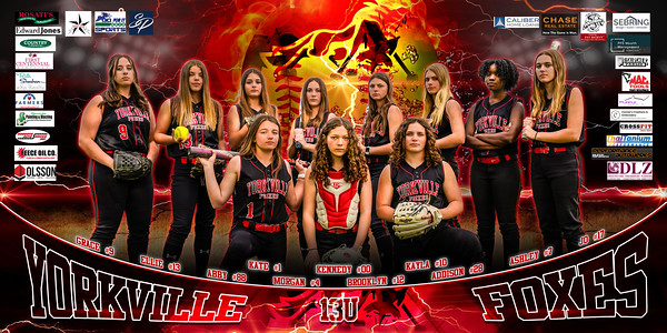36x72 13U Yorkville Foxes Softball Banner with Logos 2