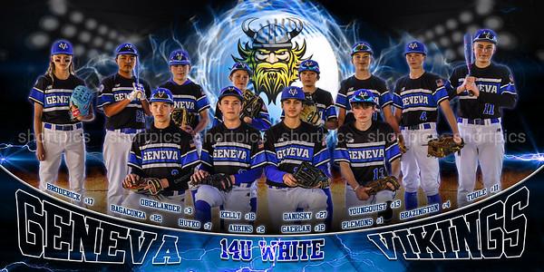 36x72 14U White Geneva Baseball Banner Fierce Viking
