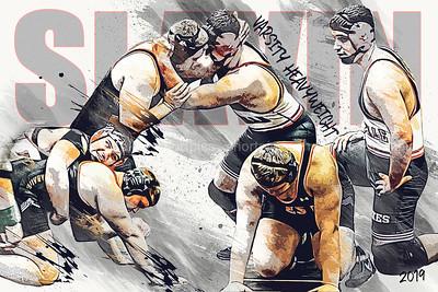 Josh Slavin Wrestling Poster Vector Sketch
