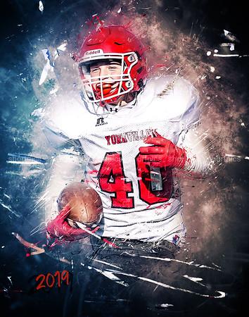 11x14 Blake Kersting Football Grunge Print 2