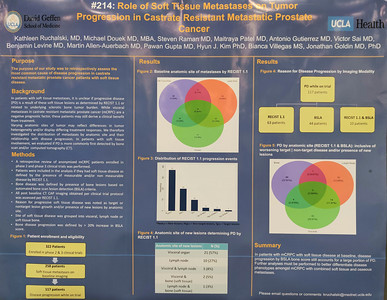 Abstract# 214 Poster- A14 Author- Kathleen Ruchalski Title- Role of soft tissue metastases on tumor progression in castrate-resistant metastatic prostate cancer. during Poster Session B, Prostate Cancer; Urothelial Carcinoma; Penile, Urethral, Testicular, and Adrenal Cancers ConfexID- 282455