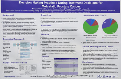 Abstract# 224 Poster- B2 Author- Alicia Morgans Title- Treatment decision making in metastatic prostate cancer (mPC). during Poster Session B, Prostate Cancer; Urothelial Carcinoma; Penile, Urethral, Testicular, and Adrenal Cancers ConfexID- 286679