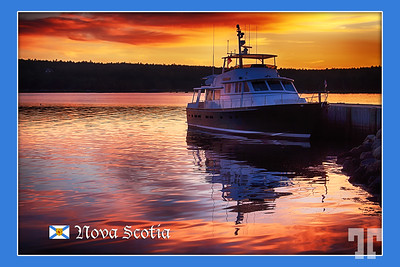 Yacht at sunset - Shelburne, Nova Scotia  (ZZ)