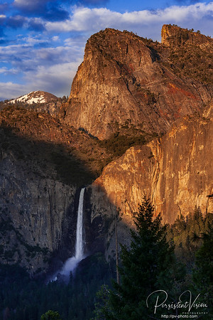 Leaning Tower, Bridalveil Falls at Sunset